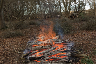 A bonfire at Old Sulehay nature reserve