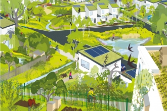 An illustration showing development alongside a wide range of green space and wildlife