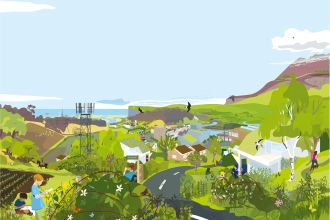An illustration showing development alongside a wide range of green space and wildlife at the coast