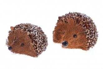 Two glittery hedgehogs made from coir
