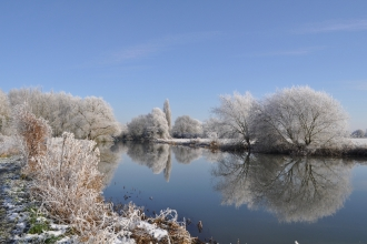 A view over the river Great Ouse with frosted trees and a blue sky