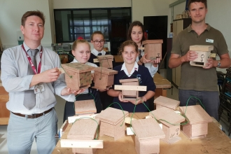 Dormouse boxes made by Swavesey Village College
