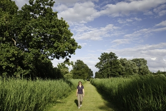 A person walking at Woodwalton Fen