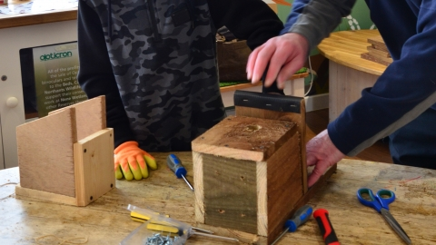 Building a nest box at the Nene Wetlands