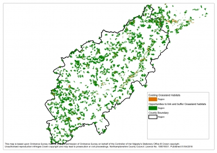 A map showing the opportunities for grassland development in Northamptonshire