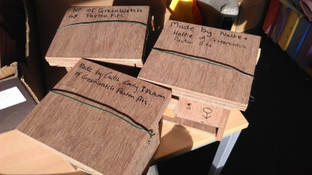 Dormouse boxes made by Greenwatch, Paxton Pits