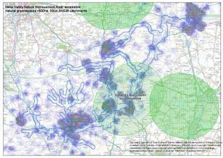 Map showing Accessible Natural Greenspace > 500ha within a 10km radius.