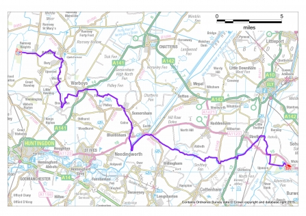 A map of the 39-mile Rothschild Way Challenge walk with the route marked in purple