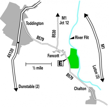 Location map of Fancott Woods and Meadows
