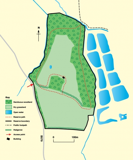 Map of Fancott Woods and Meadows