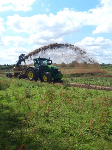 Rotary ditcher at work in the Nene Valley
