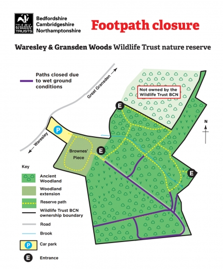 Waresley & Gransden Woods Footpath Closure Map December 2019