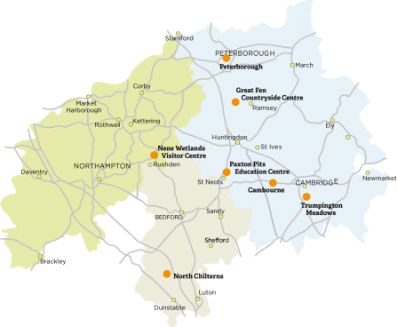 Map of Wildlife Trust Activity Centres