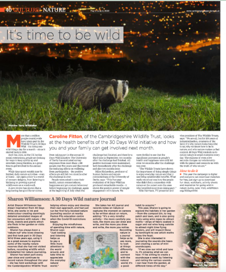 Cambridge Independent feature for 30 Days Wild
