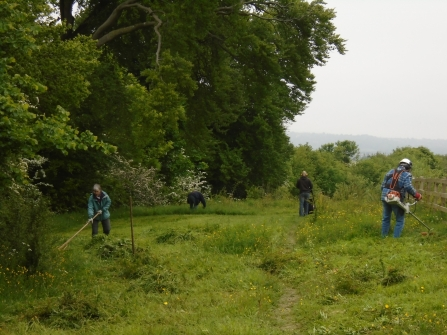 Blows Downs Volunteers cutting willowherb