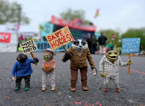 Mole, Ratty, Badger and Toad out campaigning for a Wilder Future